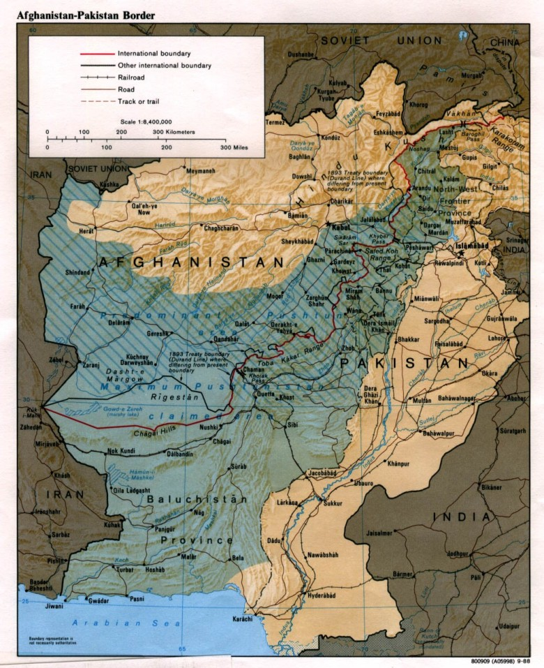 Map of Afghanistan-Pakistan border (Durand Line area)